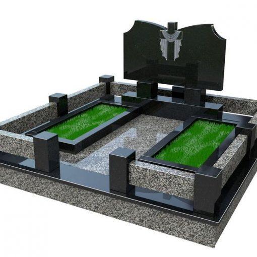 Меморіальний комплек з гранітним цоколем6 квітниками і хрестом в рушнику