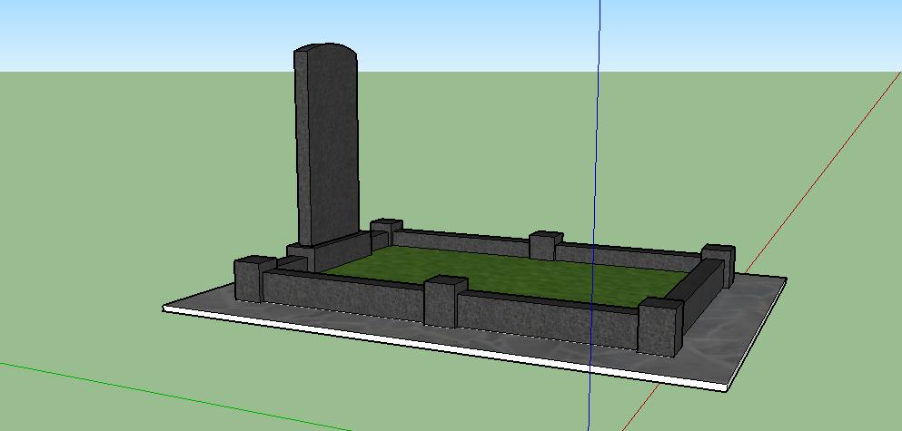 Одинарний пам'ятник з цоколем, вид збоку
