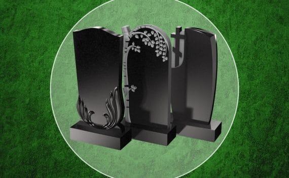 Три пам'ятника на зеленому фоні